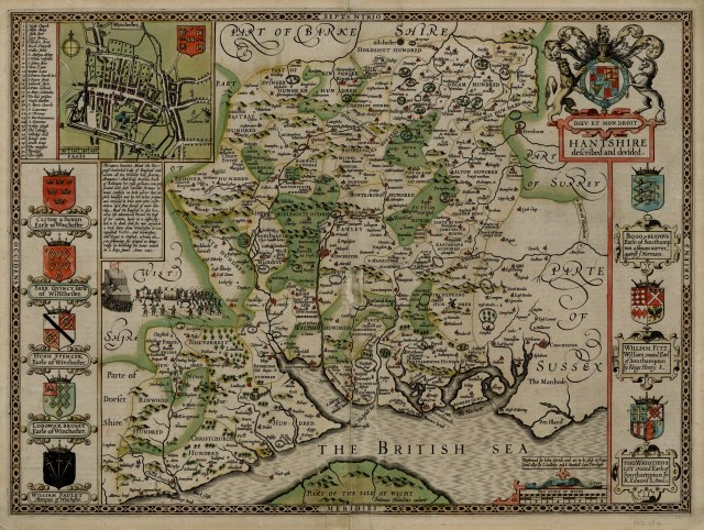 John Speed - Map of Hampshire, 1611