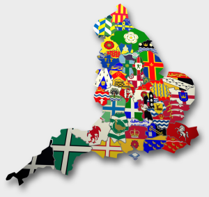 County Map of England by Flag 1