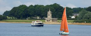 Rutland Water sailling Belle church