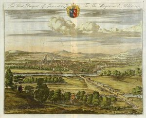 West Prospect Of Gloucester, by Kip, c.1725.