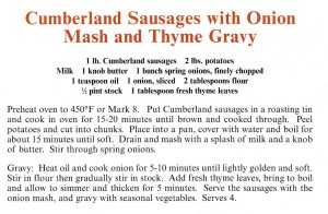 Cumberland Sausages With Onion Mash