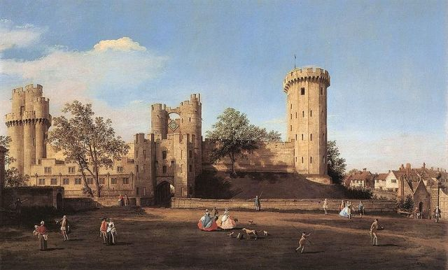 Warwick Castle, the east front by Canaletto, 1752