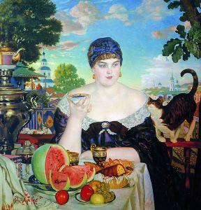 Kustodiev, Merchants Wife taking tea