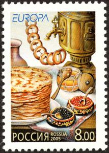 Russian stamp depicting tea items