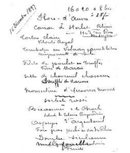 Escoffier Menu, 1899