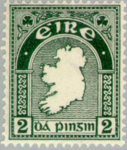 2d Map of Ireland first  Irish postage  stamp - Copy
