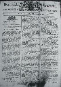 Bermuda Gazette, 12  November, 1796