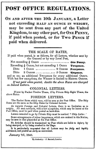 Post Office Regulations, 1840